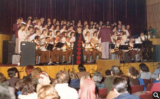 """HPD """"Tomislav"""" sa solisticom Verom Svobodom i TS """"Tamburica"""" iz Starog Petrovog Sela na koncertu """"Slavonska večer"""" 1974. godine u Cerniku"""