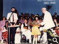 Čestitke dirigentu Vinku Sokiću za 40 godina neprekidnog vođenja zbora i orkestra - 9. lipnja 1990. godine