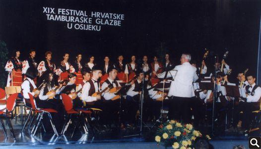 """Nastup """"Tomislava"""" na XIX. festivalu hrvatske tamburaške glazbe u Osijeku 1996. godine"""