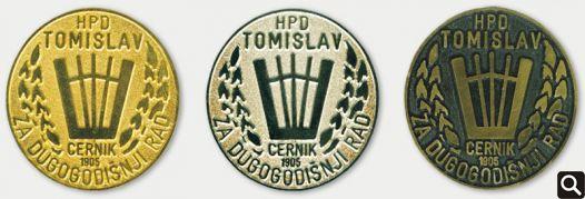 Zlatni, srebrni i brončani znak Društva - priznanja za 40, 30 i 20 godina aktivnog članstva